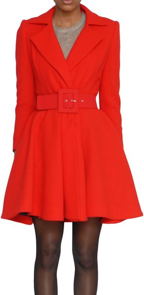 Alice + Olivia Wool Overcoat in Red - Lyst