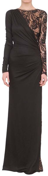 Emilio Pucci Long Wool Dress with Lace - Lyst