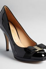 Ferragamo Pumps Tina Bow High Heel Platform - Lyst