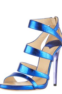 Jimmy Choo Gretchen Crushed Metallic Sandal - Lyst