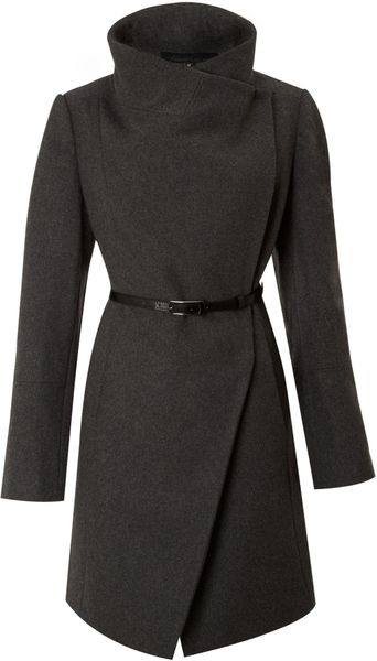 Kenneth Cole Twill Belted Wool Coat in Gray (grey) - Lyst