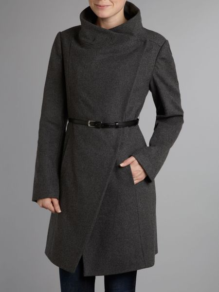 Kenneth Cole Twill Belted Wool Coat In Gray Grey Lyst