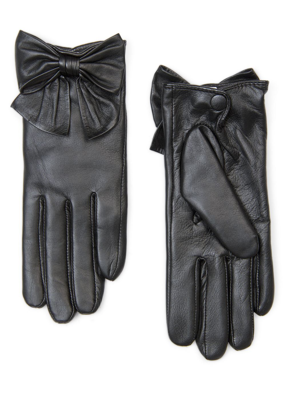 Black gloves with bow -  Mango Bow Leather Gloves In Black Lyst