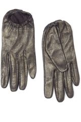 Mango Glitter Leather Gloves - Lyst