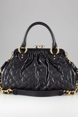 Marc Jacobs Stam Quilted Satchel Black - Lyst