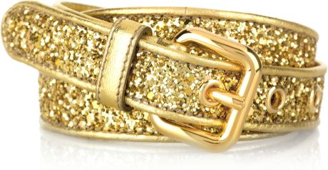 Miu Miu Glitterfinished Leather Belt in Gold - Lyst