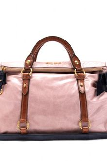 Miu Miu Colorblock Bow Leather Tote - Lyst