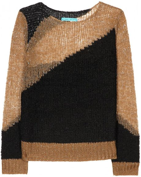 Alice + Olivia Metallic Knit Pullover in Multicolor (khaki) - Lyst