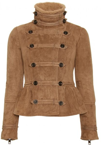 Burberry Prorsum Shearling Jacket with Frogged Trim in Brown (ivory) - Lyst