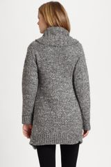 Dkny Chunky Cardigan in Gray (charcoal) - Lyst