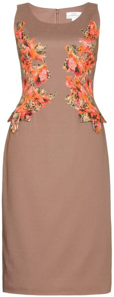 Erdem Sasha Printed Dress in Beige (hazelnut) - Lyst