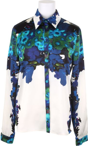 Erdem Silk Satin Shirt in Blue (multicolored) - Lyst