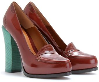 Fendi Brogued Boxcalf Platform Loafers - Lyst