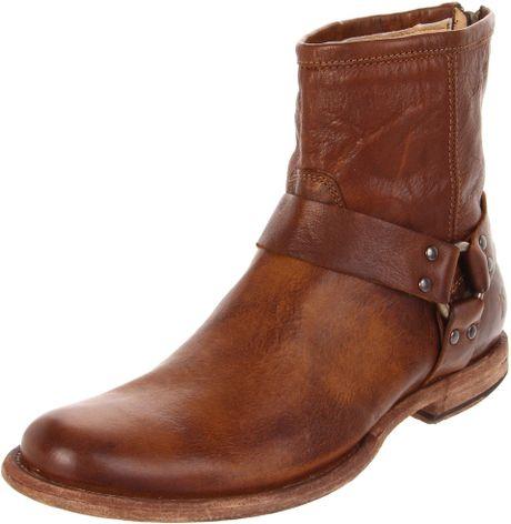 frye mens phillip harness boot in brown for cognac