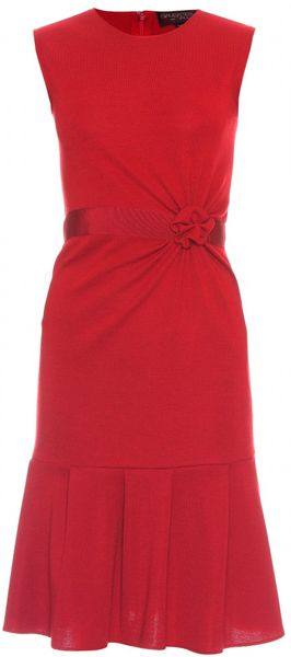 Giambattista Valli Dress with Gathered Appliqué Trim in Red - Lyst