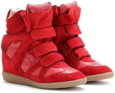 Isabel Marant Bekett Suede Wedge Sneakers in Red