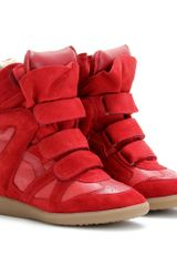 Isabel Marant Bekett Suede Wedge Sneakers in Red - Lyst