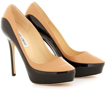 Jimmy Choo Sepia Patent and Leather Pumps - Lyst