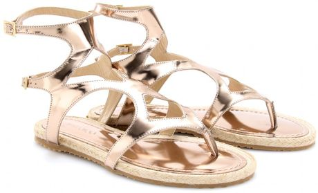 Jimmy Choo Peachy Metallic Leather Sandals in Pink (rose) - Lyst