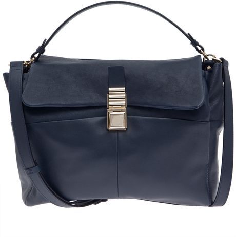 Lanvin Navy For Me Medium Leather Shoulder Bag in Black (navy) - Lyst