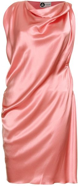 Lanvin Draped Silk Dress - Lyst