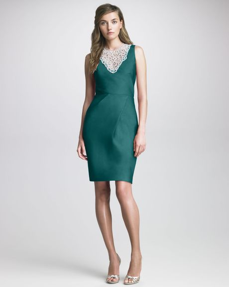 Lela Rose Beadneck Silk Dress in Green - Lyst