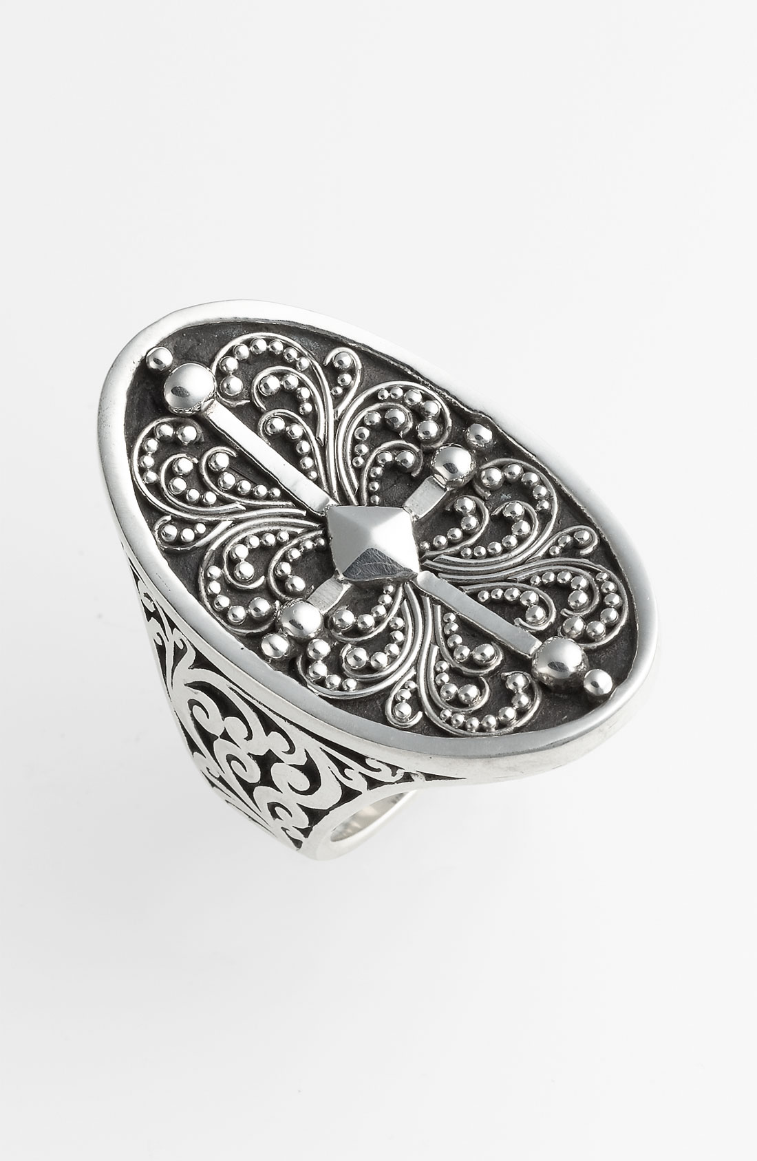 Lois Hill Haveli Granulated Saddle Ring In Silver