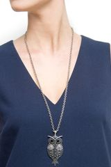 Mango Owl Pendant Necklace in Gray (93) - Lyst