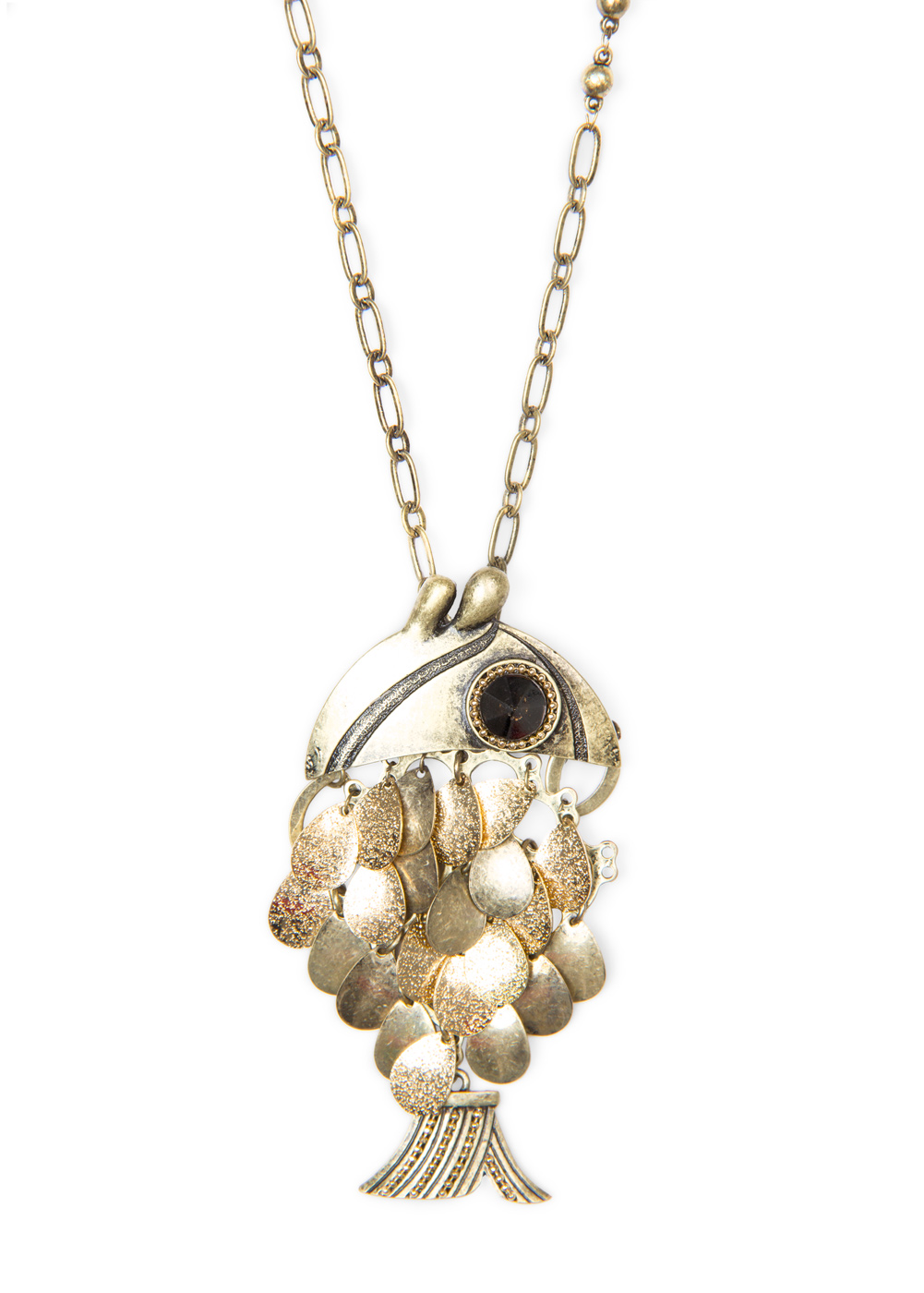 Lyst mango fish pendant necklace in metallic for 94 1 the fish