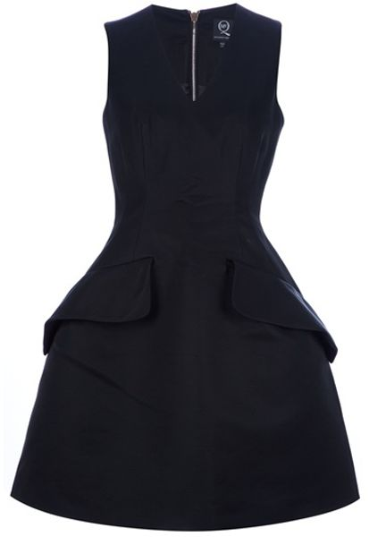 Mcq By Alexander Mcqueen Structured Aline Dress in Black - Lyst