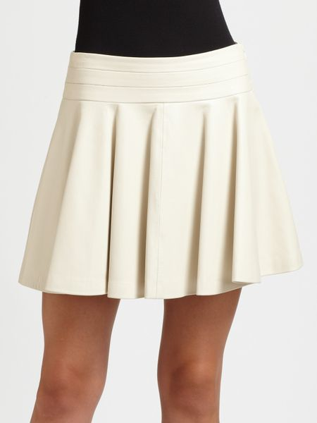 milly delphine pleated leather skirt in white lyst