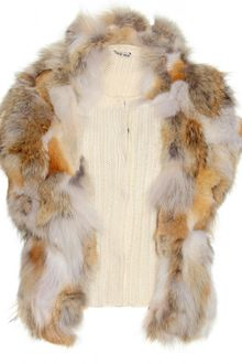Miu Miu Ribbed Knit Vest with Fur Trimmed Overlay - Lyst