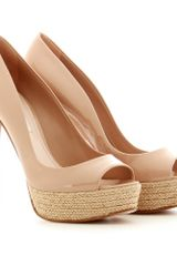 Miu Miu Patent Leather Peeptoes with Espadrille Platform in Beige (nude) - Lyst