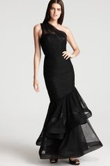 Ml Monique Lhuillier One Shoulder Gown Trumpet Skirt - Lyst
