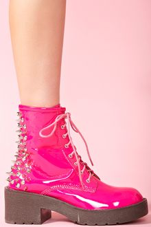 Nasty Gal 8th Street Spike Boot Pink Patent - Lyst
