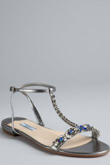 Prada Silver Leather Embellished Tstrap Sandals - Lyst
