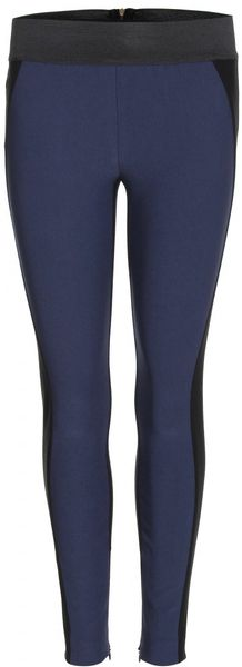 Stella Mccartney Two Tone Stretch Trousers in Blue (black) - Lyst