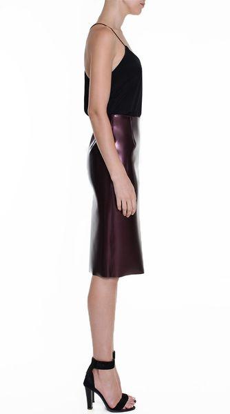tibi bonded vinyl pencil skirt in burgundy lyst
