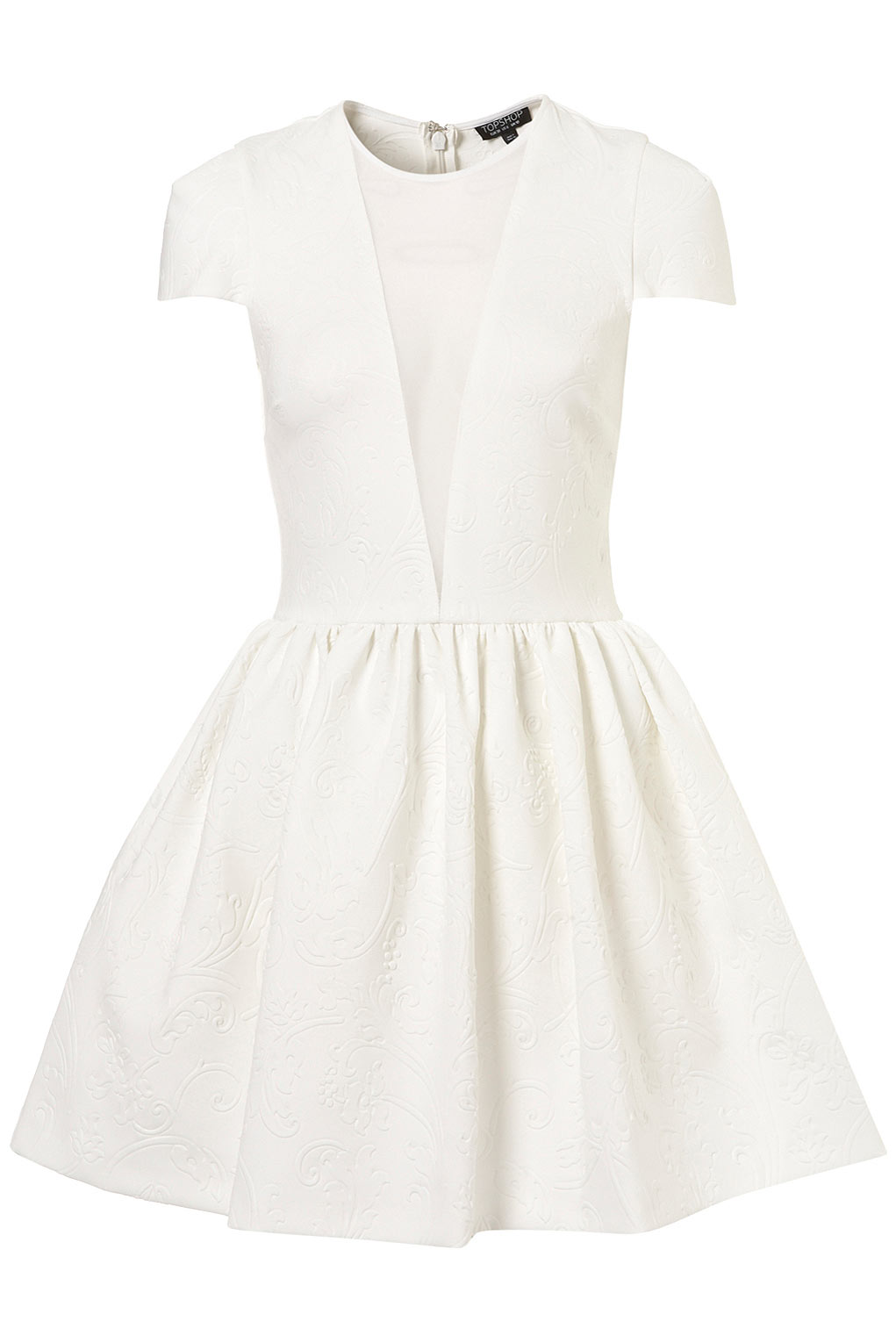 Topshop Embossed Scuba Skater Dress In White Lyst