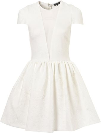 Topshop Embossed Scuba Skater Dress - Lyst