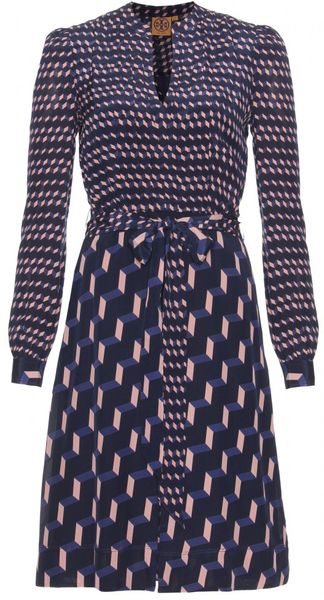 Tory Burch Judi Printed Silk Dress in Blue - Lyst