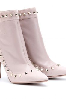 Valentino Rockstud Suede and Leather Ankle Boots - Lyst