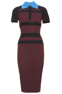 Victoria Beckham Victoria Beckham Striped Dress with Collar - Lyst