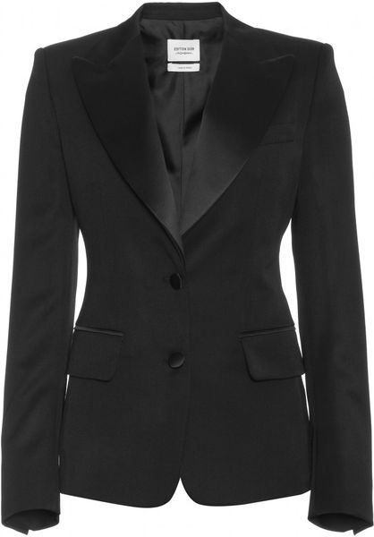 Yves Saint Laurent Blazer with Satin Collar in Black (nero) - Lyst