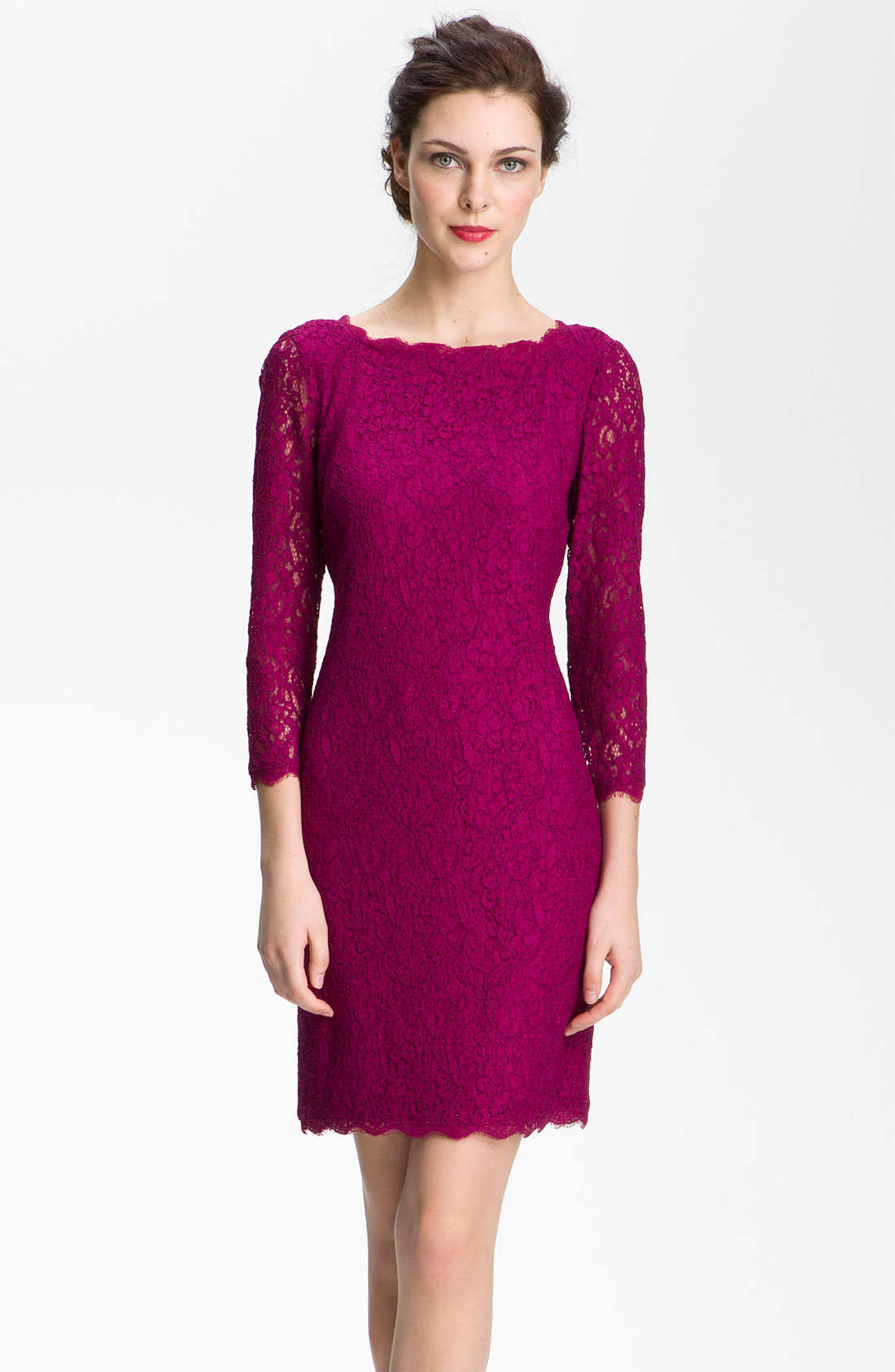 Adrianna papell Lace Overlay Sheath Dress in Pink (crushed berry ...
