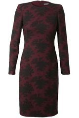 Alexander Mcqueen Layered Crepe Wool and Lace Dress in Purple (burgundy) - Lyst