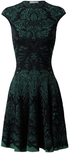 Alexander Mcqueen Wool Blend Knit Dress in Green - Lyst