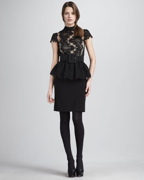 Alice + Olivia Robyn Lace Top Peplum Dress in Black - Lyst