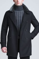 Armani Shearling collar Pea Coat - Lyst