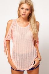 Asos Collection Asos Cut and Sew Open Shoulder Top in Pink (orange) - Lyst